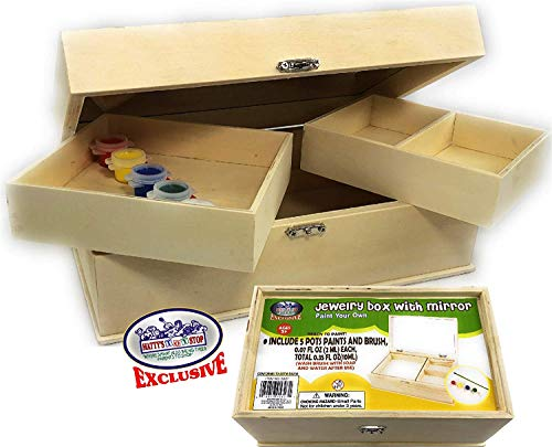 Matty's Toy Stop Design & Paint Your Own 10 Wooden Jewelry Box with Mirror Removable Compartments Includes 1 Brush 5 Paints Red Blue Green White Yellow