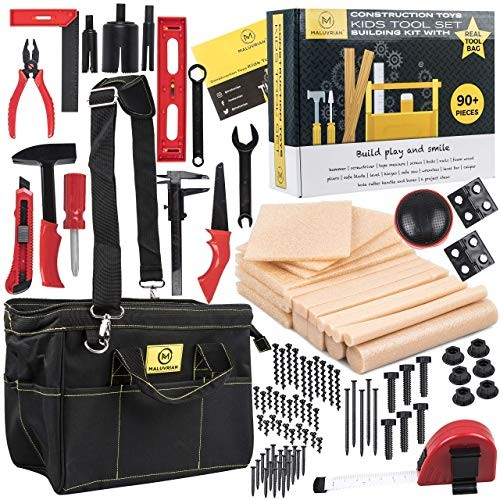 MALUVRIAN Arts and Craft Kit for Kids Tool Set Building Toys Creative Real Bag Educational STEAM STEM Construction Toy Plastic Tools Foam Wood Pretend Play
