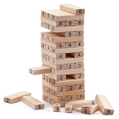 54-Piece Mini Tumbling Timbers Wooden Block Stacking Game Build to Over 15ft