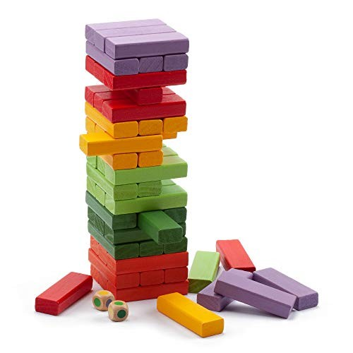 54-Piece Multi-Color Mini Tumbling Timbers Wooden Block Stacking Game Build to Over 18ft