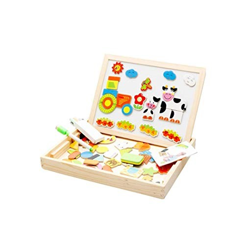 FLYSxP Wooden Magnetic Puzzle Farm Cartoon Character Double-Sided Imposition Wood Spelling Spell Toy Building Blocks Children's Educational Toys Color A