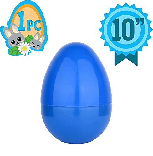 Totem World Jumbo 10-Inch Solid Blue Easter Egg – The Perfect Size For Holding Toys Candy Bars And Stuffed Animals Easy To Open Tough Break Great As Party Favors Basket Stuffers