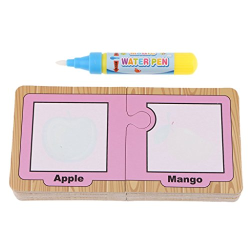 Water Painting Cards Drawing Board Colouring Card Alphabet Number Word Doodle Book Early Education Cognitive with Magic Pens – Fruits