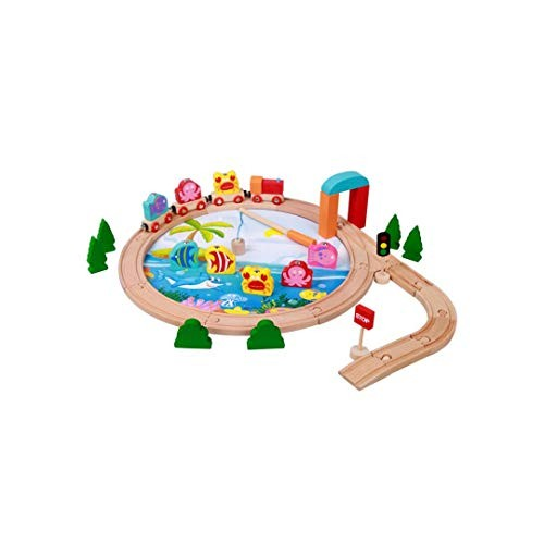FLYSxP Children's Educational Wooden Magnetic Fishing Scene Small Train 40 Pieces of Stitching Track Building Blocks Toys