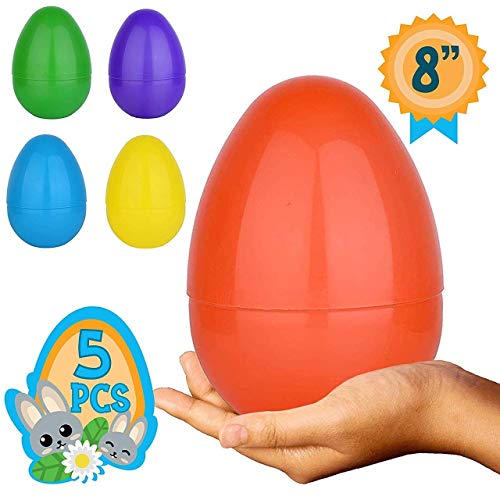 Totem World 5 Jumbo Fillable Plastic Easter Egg Hunt Party Supply – 8-Inch in Assorted Colors