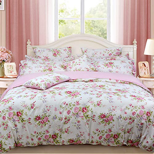 FADFAY Shabby Rose Floral Duvet Cover Pink Plaid Girls Bedding Set100% Cotton Hypoallergenic Bed Sheet Set7Pcs 1 +1 Fitted Sheet+ 1 Flat +4 Standard Pillowcases Queen Size