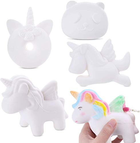 LEEHUR 4Pcs DIY White Animal Slow Rising Squishies Pack Party Favors Jumbo Blank Kawaii Soft Creamy Unicorn Horse Panda Donut Squishy Squeeze Sensory Toys Stress Anxiety Relief for Kids Adults