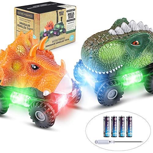 Tencoz Dinosaur Cars Kids Dinosaur Vehicles Set with LED Light Monster Sound Animal Car