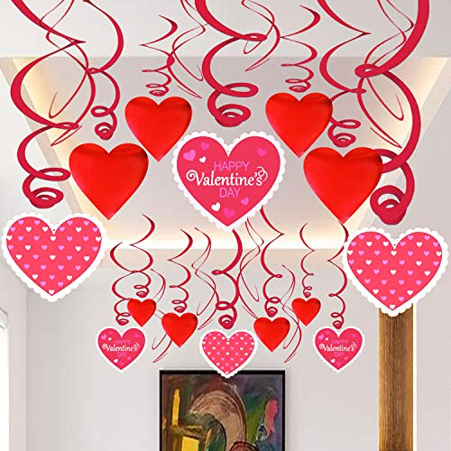 Hanging Heart SwirlsValentines Decorations – Pack of 46 Valentines Day Party Favors Valentine's for Ceiling and Windows Bridal Shower