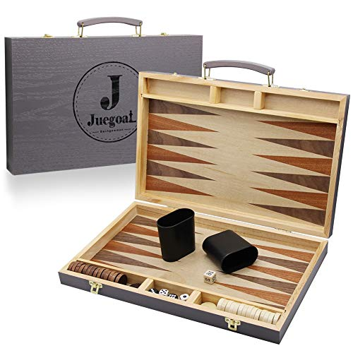 Juegoal 15 Wooden Backgammon Board Game Set for Kids Adults