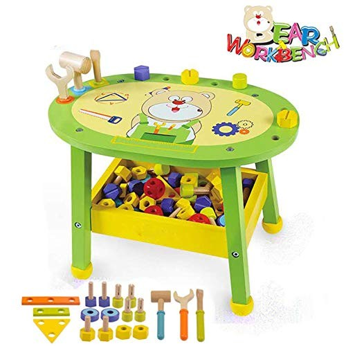 Arkmiido Kids Workbench Wooden Bear Master Workshop Award Winning Kid's Tool Bench Toy Pretend Play Creative Building Set Solid Wood Includes