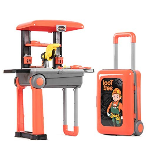 Fondear Tool Toy Play Set Bench Building Box with Workbench for Kids Funny Construction Tools Black & Orange