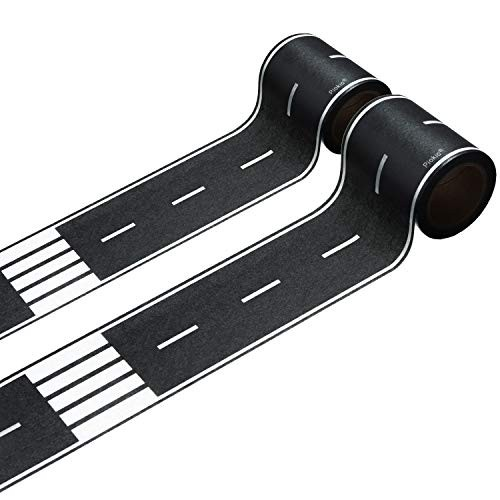 Piokio 2 Rolls of Black Road Track Tape Race Cars Decorations for Kids Birthday