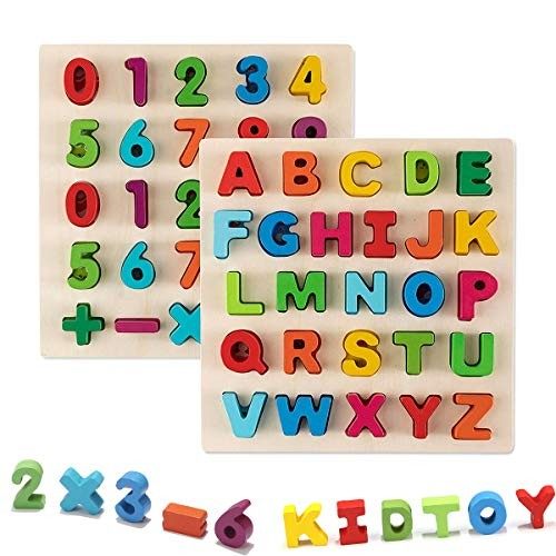 Jamohom Wooden Number Puzzle and Alphabet Set Ideal for Early Educational Learning Board Toys Kids 2 Sets