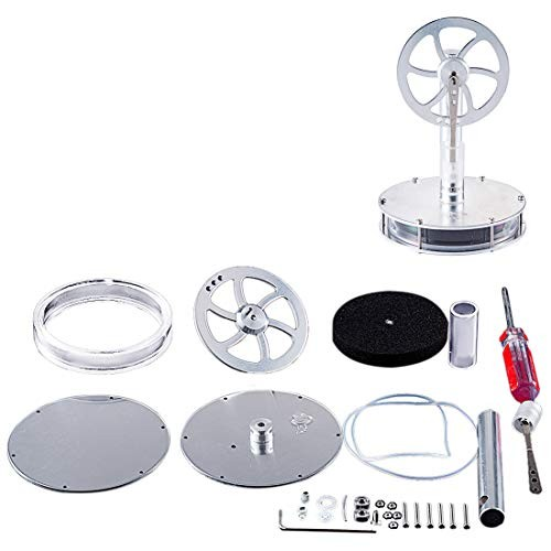Yamix Unassembled DIY Low Temperature Stirling Engine Motor Model Steam Heat Physics Education Toy Kit Silver
