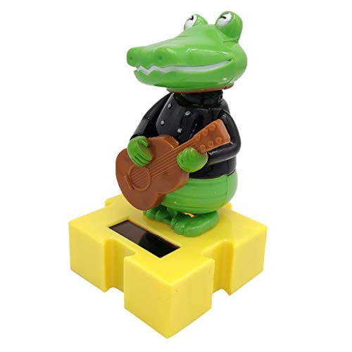 Solar Powered Bobbing Guitar Crocodile Animal Figure – Fun Science Toy Home Desktop Car Decor Bobbleheads Pet Model