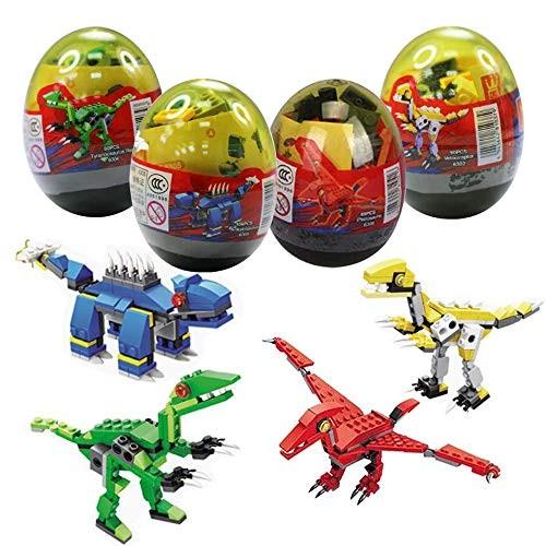 Anditoy 4 Pack Dinosaur Building Blocks in Jumbo Easter Eggs for Kids Basket Stuffers Fillers Gifts