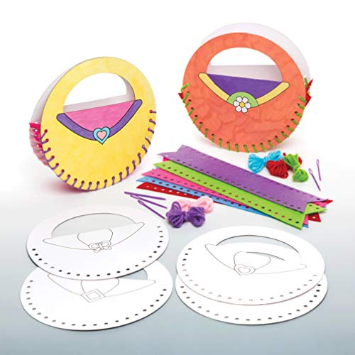 Baker Ross Ltd Color-in Handbag Sewing Kits Pack of 5 for Kids to Decorate and Personalize