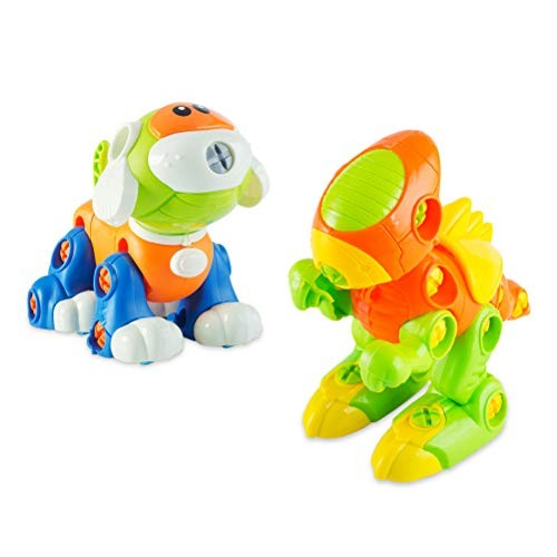 Odowalker Dinosaur STEM Toys Take Apart & Dog with Screwdriver for Kids Birthday Party Christmas Preschool Best Educational Gift 3 Years Old and Up