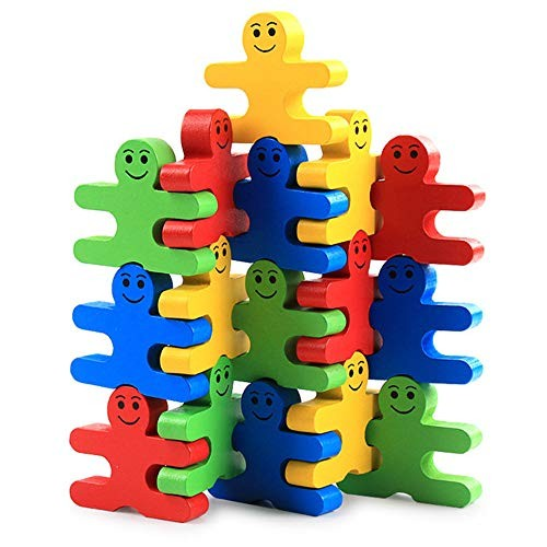 Toddlers Building Block Set Blocks Children's Education Early Wooden Cartoon Balance Villain Kindergarten Toys