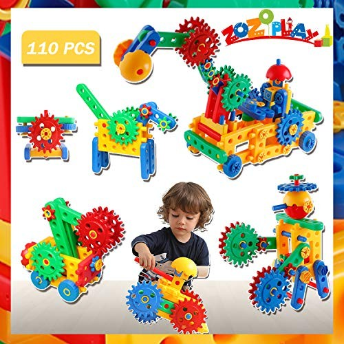 STEM Toys 110 Piece Gear Building Set for Kids Learning Educational Engineering Construction Blocks Build Excavator Horse & Buggy Year Old Boys Girls