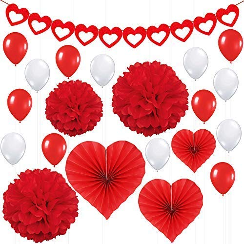 Valentines Day Party Decorations Kit Pack of 21 Red Heart Felt Garland Banner Paper Fans Pompoms and White Latex Balloons Great for Dcor Anniversary Backdrop