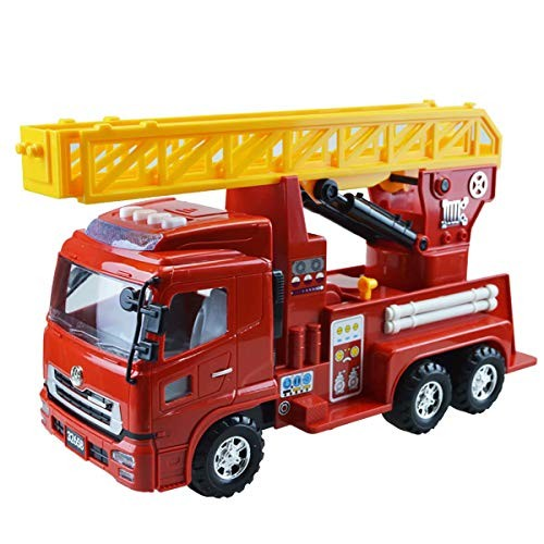 xZJT Red Inertia Forward Engineering Vehicle Large Rise Flre Ladder Truck Child Toy Car Model with Sound 007