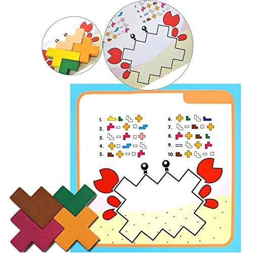 bromrefulgenc Intellectual ToyPuzzle Jigsaw Kids Toy15Pcs Wooden Building Blocks Puzzles Toy Early Learning Intelligence