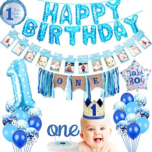 1st Birthday Boys Party Supplies Decorations Baby Boy First High Chair Burlap Banner Happy Balloons Baby Photo No1 Crown Blue Glitter One Cake Topper Number Balloon Educational Toys Planet