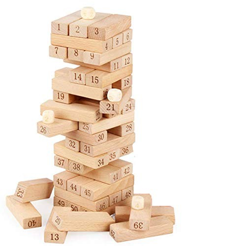 Alytimes 51pcs Wooden Tumble Tower Game Building Blocks Stacking Toy Board for Kids and Adults
