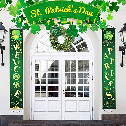 Blulu St Patrick Day Decoration Set Happy Patrick's Porch Sign Welcome Banner Shamrock Clover Flag Hanging for Indoor Outdoor Party Color 9