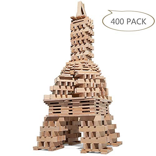 LuckIn 400 Pieces Wooden Building Blocks Set Construction Education Toy for Kids Natural