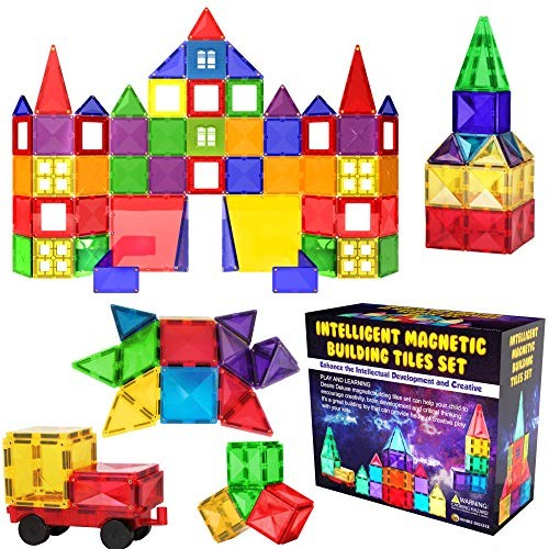 Desire Deluxe Magnetic Tiles Blocks Building Set for Kids Learning Educational Toys Age 3 – 8 Year-Old Birthday Present Gift 57PC