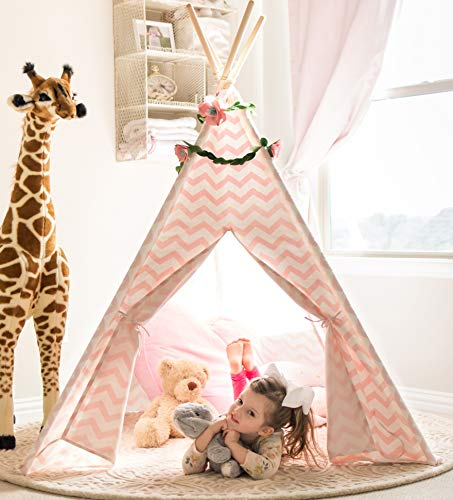 Tiny Land Teepee Tent for Kids – Girls Play Pink Chevron Cotton Canvas Tipi