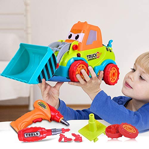 Zoostliss Take a Part Toys Truck Assembly Toy Car Construction Bulldozer 3-4-5 Years Old DIY Toddler Music Lights Drill Tool Gift Kids 3 4 5