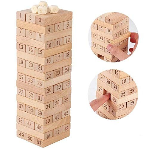 Sricam 51pcs Wooden Tumble Tower Game Building Blocks Stacking Toy Board for Kids and Adults