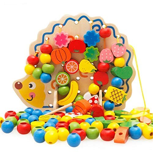 BABIFIS Wooden Building Blocks Beaded Threading Children's Puzzle Early Learning Toys Hedgehog Fruit Strings