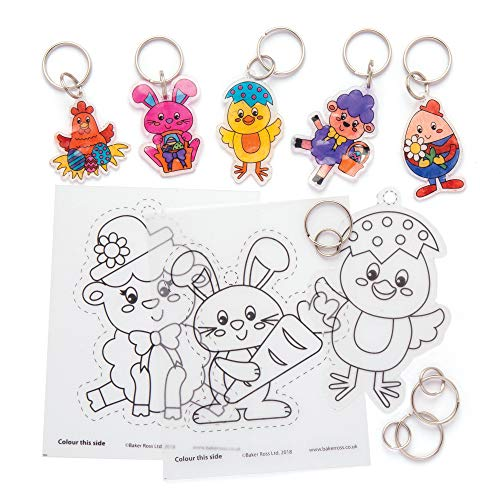 Baker Ross Easter Super Shrink Keyrings Pack of 8 Crafts for Kids to Decorate and Attach or Bags