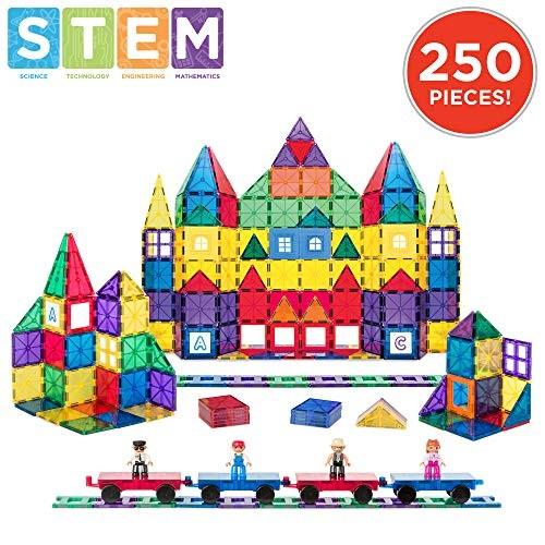 Best Choice Products 250-Piece Kids STEM 3D Magnetic Building Block Tile Toy Play Set w 4 Figures Railroad Accessories