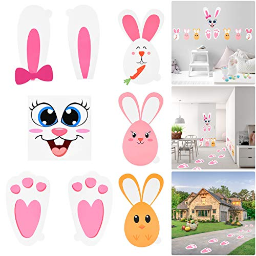 Amosfun Easter Bunny Paw Prints Stickers Set Egg Face for Baby Shower Garden Hunt Game