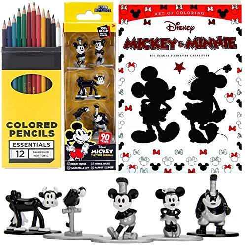 Art & Figures of Mickey Mouse Retro Friends Edition + Minnie Coloring Book Nano Black White Collection 5-Pack Character Bundle Fun with Colored Pencils