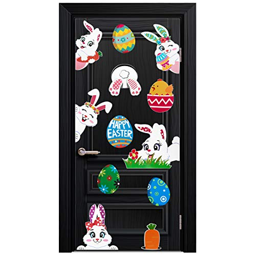 Unomor EasterDecorations Window Clings Decals Bunny Easter Eggs Stickers Set for Home Decor