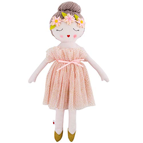 Hearts of Yarn Plush Madeleine Ballerina Doll For Girls Soft Sleeping Cuddle Buddy Toddlers Infants and Babies 19 inches Tall Extra Large Handmade First Baby Toy Cute Nursery Room Decor