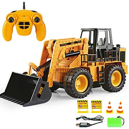 LoMe Remote Control Bulldozer 24G Engineering Vehicle 6 Channel Rechargeable Simulation Forklift Toy