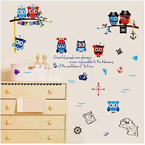 Wsqyf Pirate Owl Wall Sticker Baby Children's Room Bedroom Musical Notes Navigation Decorate DIY Vinyl Decal Home Decor 50x70Cm