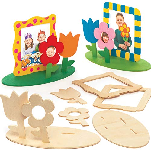 Baker Ross Wooden Flower Garden Photo Frame Kits Pack of 4 for Kids to Decorate and Display