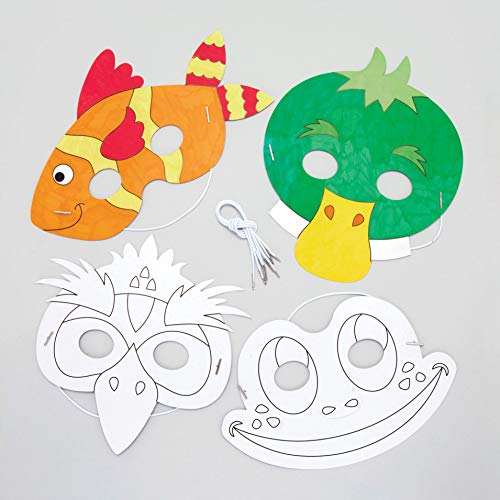 Baker Ross Pond Life Color-in Masks Pack of 8 for Kids to Decorate Personalize and Wear Dress Up – Carnival Mardi Gras Party Accessory