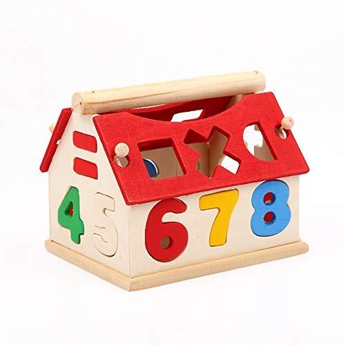 bromrefulgenc Intelligence Toy for ToddlerBuilding Blocks Intelligent Educational Children DIY Assembly Wooden Number Hous