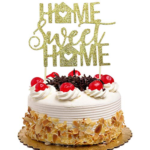Home Sweet Cake Topper New Housewarming Welcome Party Decorations Gold Glitter