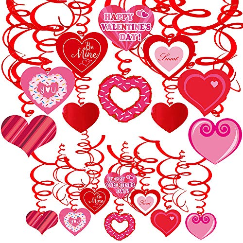 40 Pcs Valentine's Day Hanging Swirl Decorations Party Swirls Heart Steamers Foil Ceiling Dcor Streamers with Cutouts for Supplies Photo Booth Backdrop